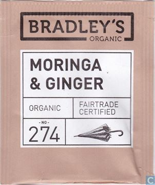 Billede af Bradley's Te breve Moringa<br/>m/ Ingefær te Økologisk.<br/>100 breve.